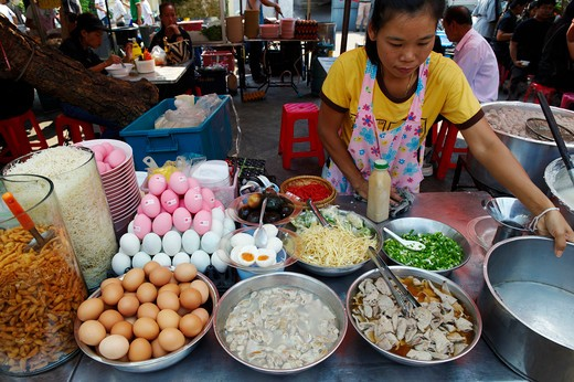 Stock Photo: 4292-20580 Thailand, Bangkok, Street restaurant in Tha Chang street