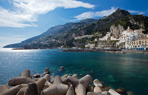 Italy, Campania, Amalfi, View of the Village from the Pier : Stock Photo