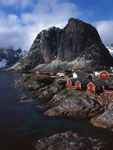 Norway, Lofoten Islands, Rorbu village : Stock Photo