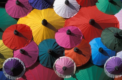 Stock Photo: 4292-32632 Thailand. Chiang Mai.Paper umbrella factory. Paper umbrella