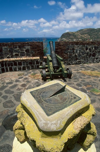 Caribbean, Netherland Antilles, St.Eustatius, Oranjestad, ramparts of Fort Orange : Stock Photo