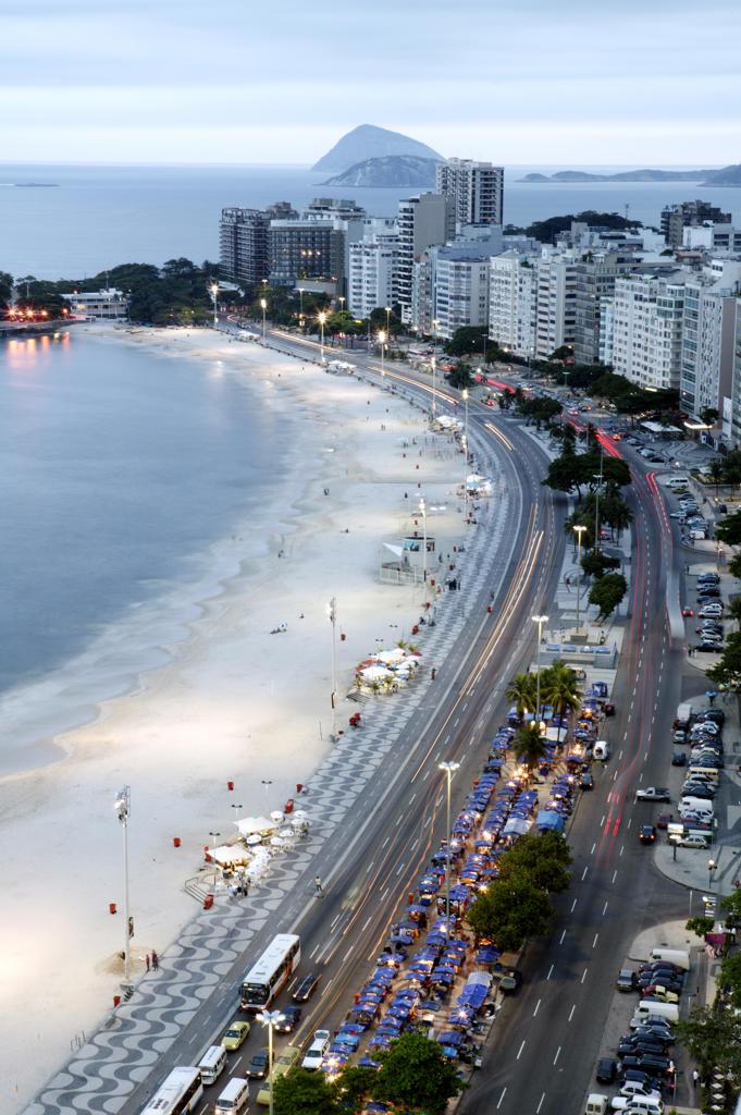 Stock Photo: 4292-34178 Brazil, Rio De Janeiro, Copacabana. Avenida Atlantica and Copacabana Beach.