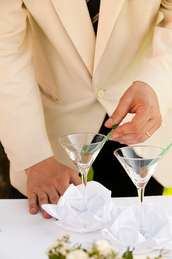 Bartender preparing martini : Stock Photo