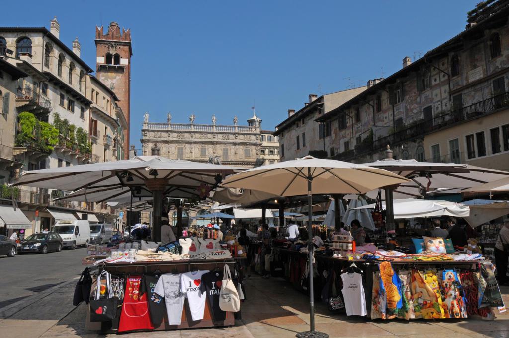 Italy, Veneto, Verona, Piazza delle Erbe : Stock Photo