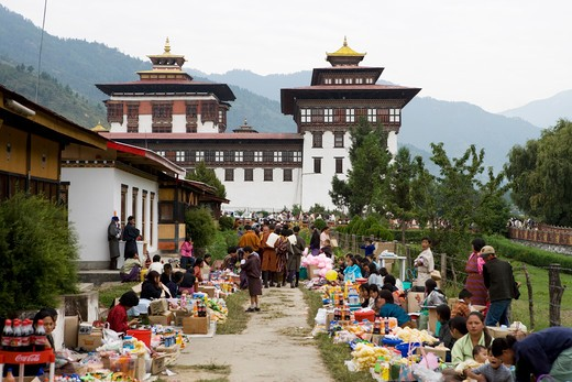 Stock Photo: 4292-36788 Bhutan,Thimphu. Thimphu Dzong. Market for Buddhist Festival (Tsechu).