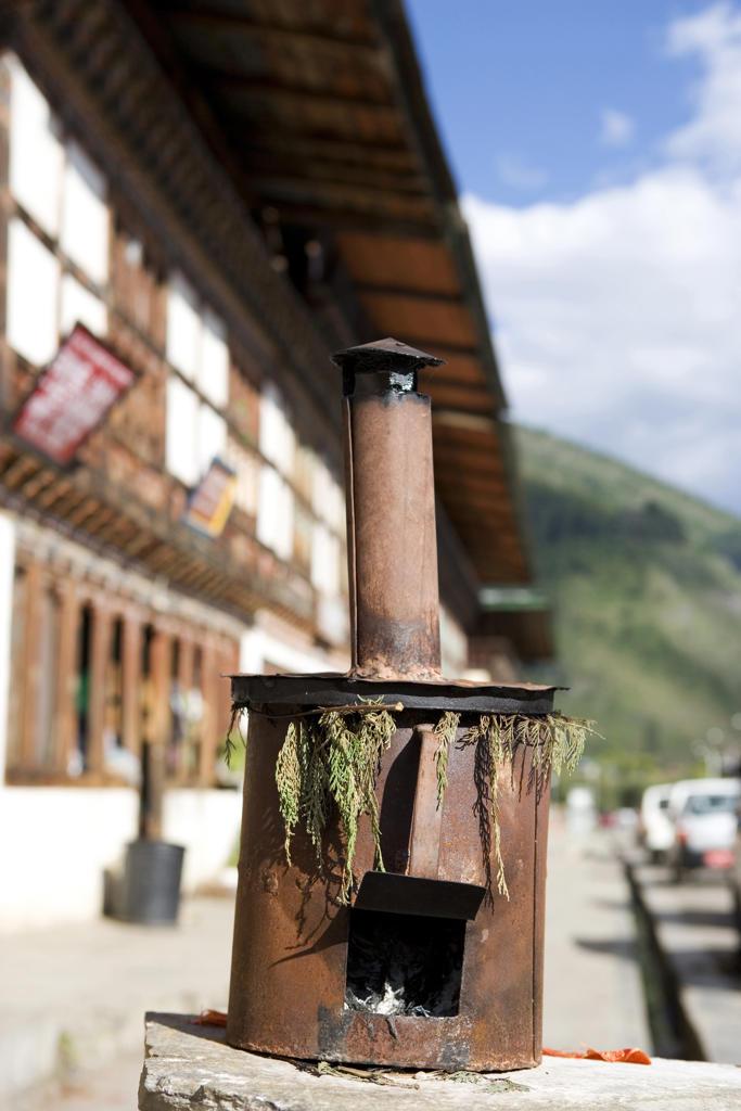 Stock Photo: 4292-36817 Bhutan. Paro. Incense burner