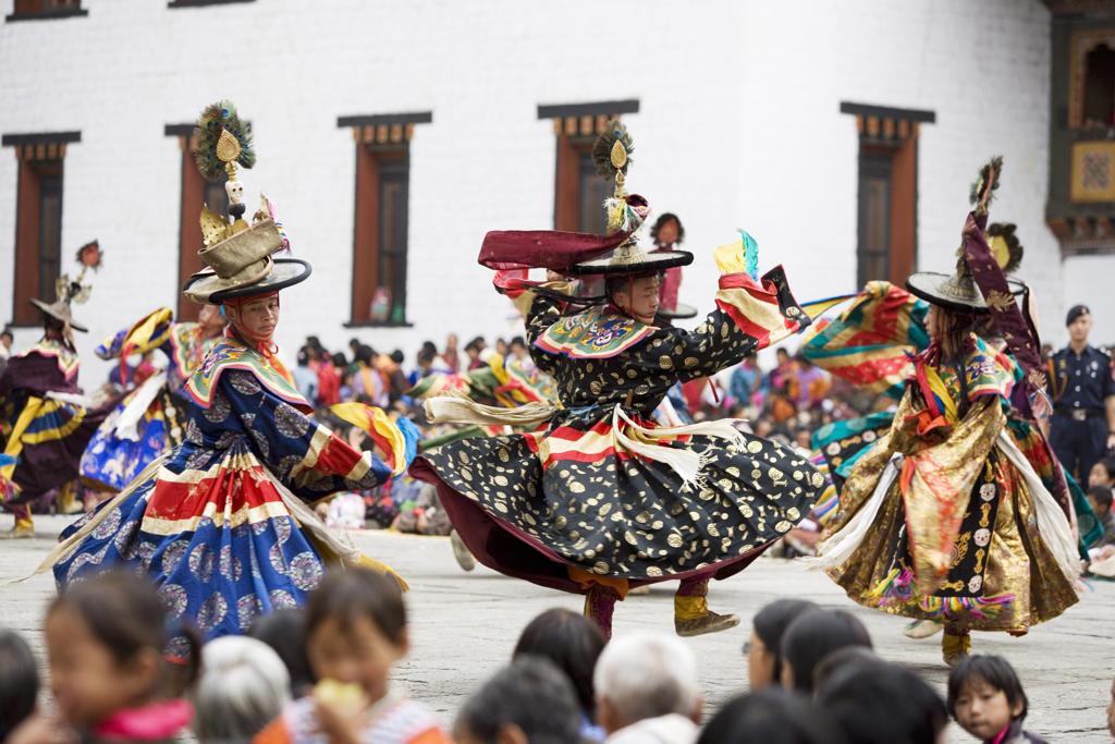 Stock Photo: 4292-36826 Bhutan. Thimphu. Thimphu Dzong Monastery. Tsechu (Buddhist Festival)