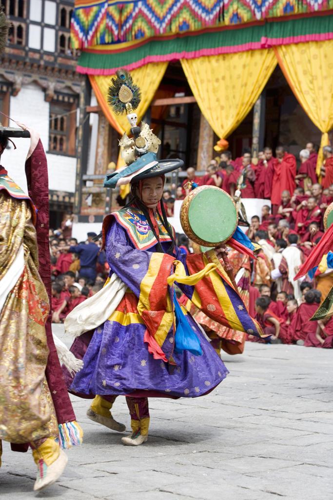 Stock Photo: 4292-36836 Bhutan. Thimphu. Thimphu Dzong Monastery. Tsechu (Buddhist Festival)
