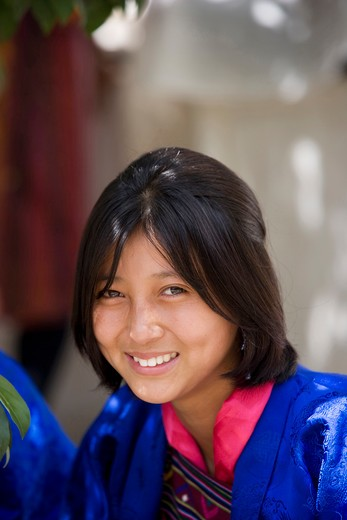 Stock Photo: 4292-36842 Bhutan, Thimphu. Bhutanese girl