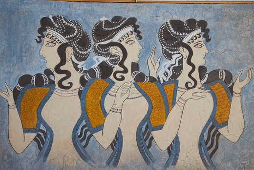 Greece, Crete, Knossos, painting : Stock Photo