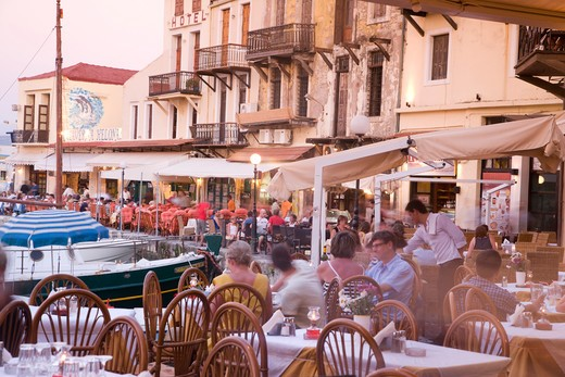 Stock Photo: 4292-37607 Europe, Greece, Western Crete, Rethymnon, restaurants in the Venetian harbour at dusk