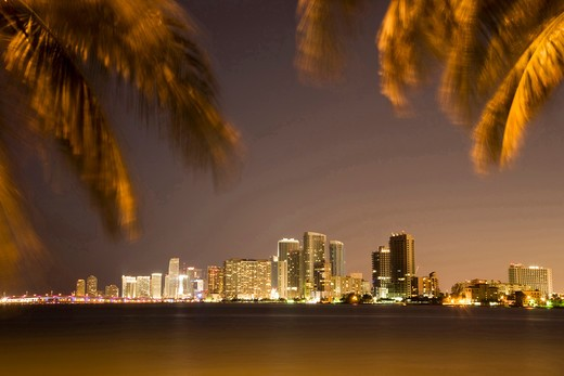 Stock Photo: 4292-37976 USA, Florida, Miami skyline at dusk