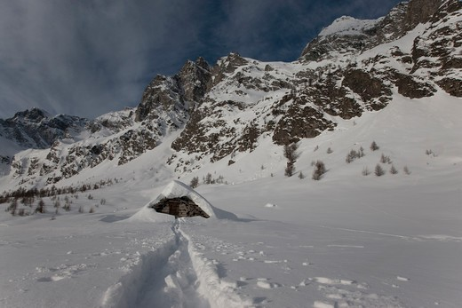 Stock Photo: 4292-38352 Italy, Alps, Pedimont Region, winter in Alpe Devero, Ice.