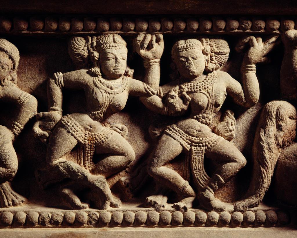 Dancers,Pedestal of Shivalingam, Tra Kieu style. Danang Cham Museum,Cham Art, Vietnam. : Stock Photo