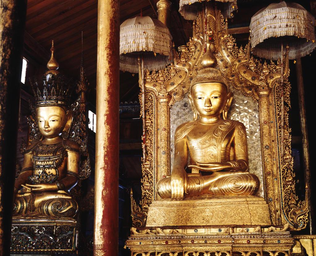 Dry lacquer Shan Buddha image.Nga Phe Kyaung monastery, Inle Lake,Shan states, Burma : Stock Photo