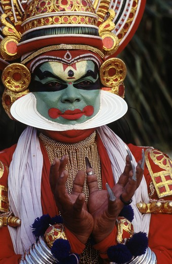Stock Photo: 4292-39351 A Kathakali actor, Kerala, India