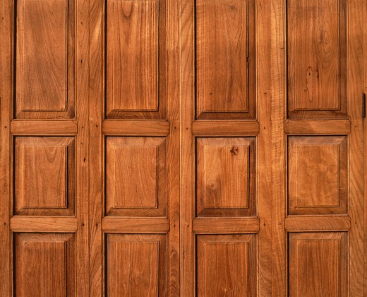 Stock Photo: 4292-39631 Wood panelling of a thai shophouse,Thailand.