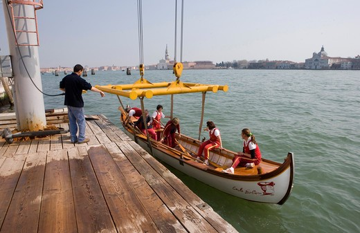 Italy,Veneto,Venice,race boat of the Società Remiera Bucintoro : Stock Photo