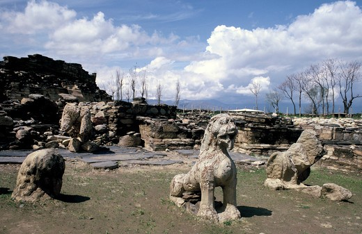 Stock Photo: 4292-42525 Ruins of a Gandhara buddhist monastery, North Pakistan