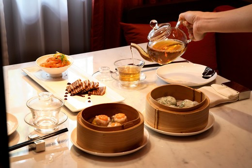Dim sum at Chinahouse in the Oriental Bangkok : Stock Photo
