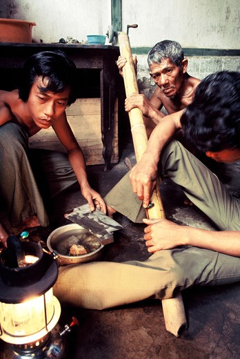 Polishing of stones in Moluccas, Indonesia : Stock Photo