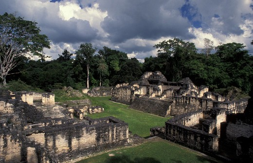 Guatemala, Tikal, mayan city, central acropolis ruins : Stock Photo