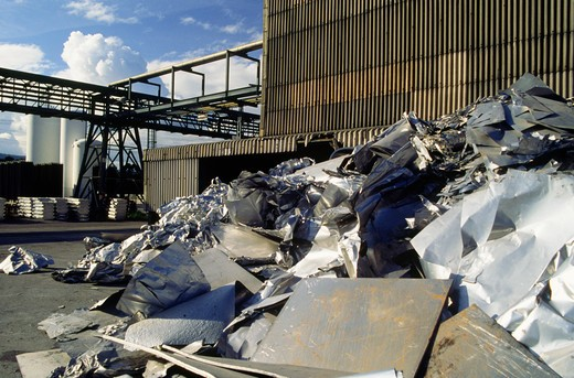 Aluminum recycling plant, Spain, Galicia : Stock Photo