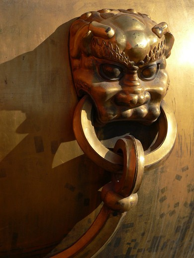 China, Beijing, Forbidden City, doorknocker : Stock Photo