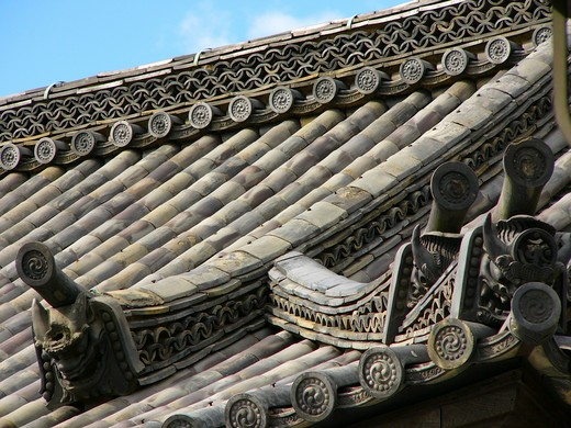 Stock Photo: 4292-45056 Roof Detail. Kyomizi Temple. Kyoto. Japan