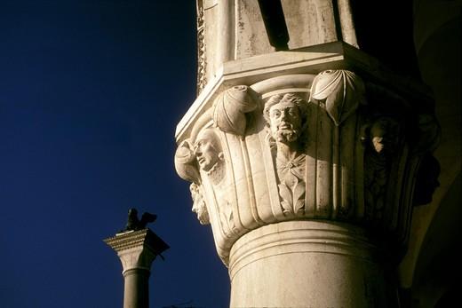 Bas-relief on a capital.Italy,Venice Palazzo Ducale detail : Stock Photo