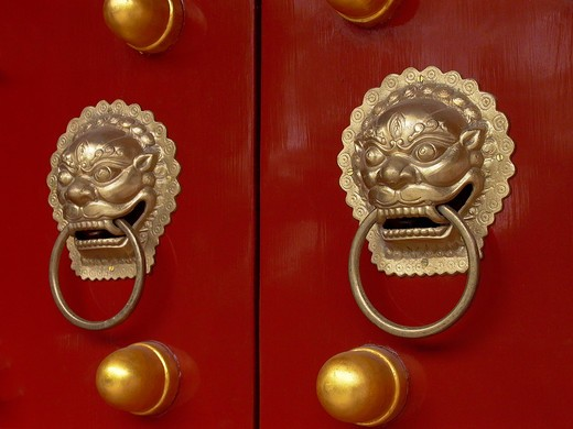 Stock Photo: 4292-45152 China, Beijing, Forbidden City, doorknocker