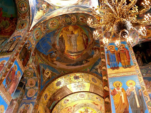 Ceiling, Church on Spilled Blood, St Petersburg, Russia : Stock Photo
