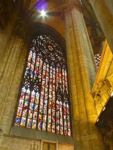 Stock Photo: 4292-46640 Italy, Lombardy, Milan, stained glass of Duomo