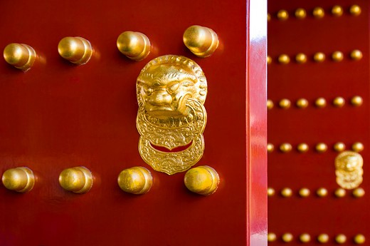 China, Beijing, Summer Palace, doorknocker : Stock Photo
