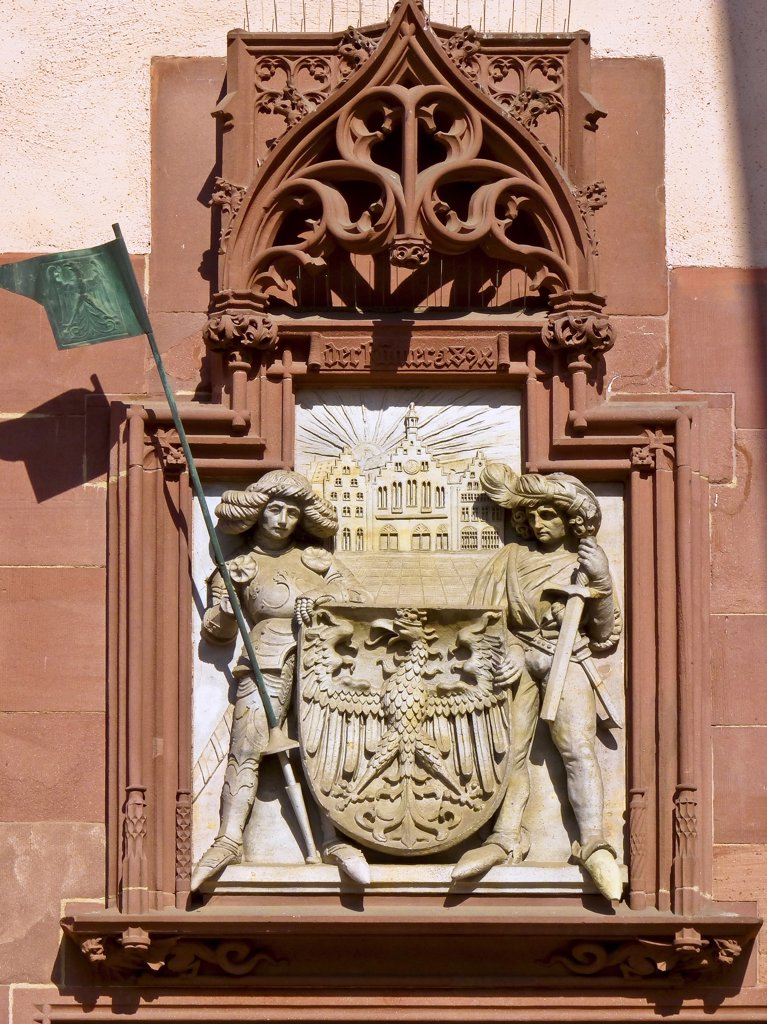 Germany, Frankfurt am Main, The Roemer, The City Hall, Coat of Arms : Stock Photo