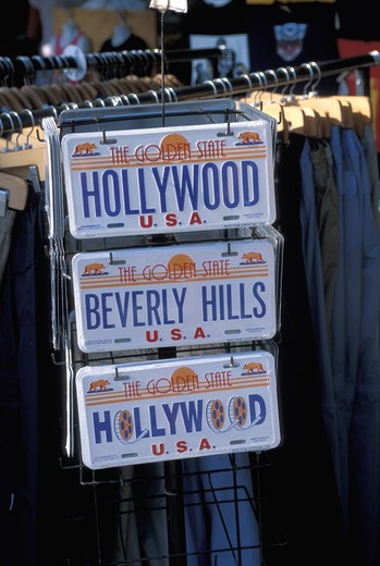 Stock Photo: 4292-47201 USA, Los Angeles tourist license plates Venice beach