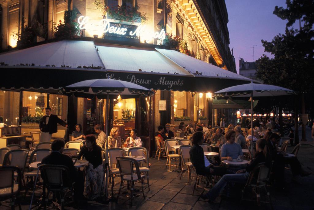 Europe, France, Paris,Restaurant, Deux Magots : Stock Photo