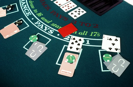 Stock Photo: 4292-47412 Nevada, Las Vegas. Blackjack table