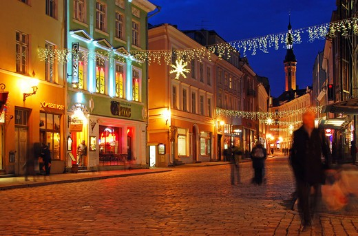 Europe, Estonia, Tallin, Viru Street in the Old Town : Stock Photo