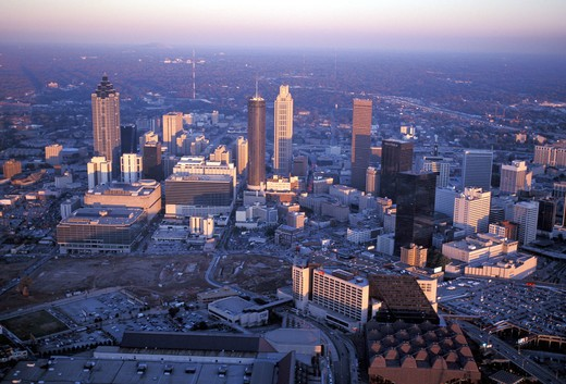 Stock Photo: 4292-48051 North America, USA, Georgia, Atlanta, aerial skyline at sunset