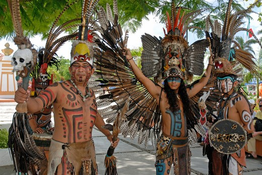Stock Photo: 4292-48316 Cozumel, Mexico, Indian Dancers
