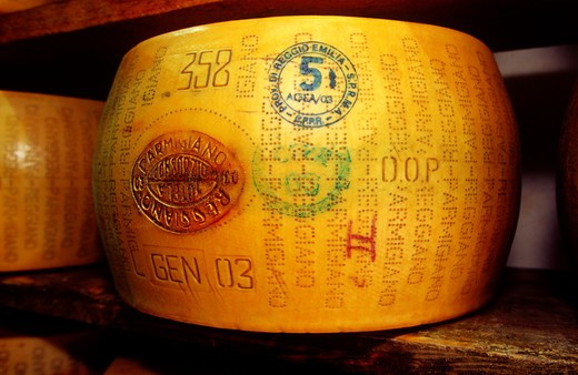 Stock Photo: 4292-49866 Close-up of a parmesan cheese in the storage room