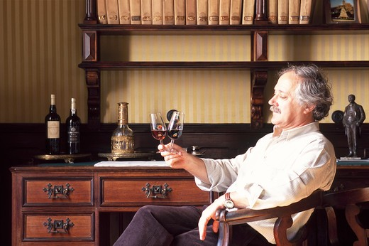 Portugal, Douro, winemaker J.N: D'Almeida tasting port wine at Ramos Pinto winery : Stock Photo