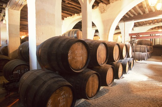 Stock Photo: 4292-52917 Portugal, Douro, port wine ageing in barrels in the Ramos Pinto estate