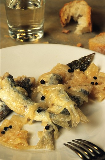 Stock Photo: 4292-53097 Sarde in Saor, (fried sardines with raisins and onion) Venice, Veneto, Italy