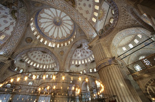 Stock Photo: 4292-53290 Turkey, Istanbul, ceiling of Sultan Ahmet mosque