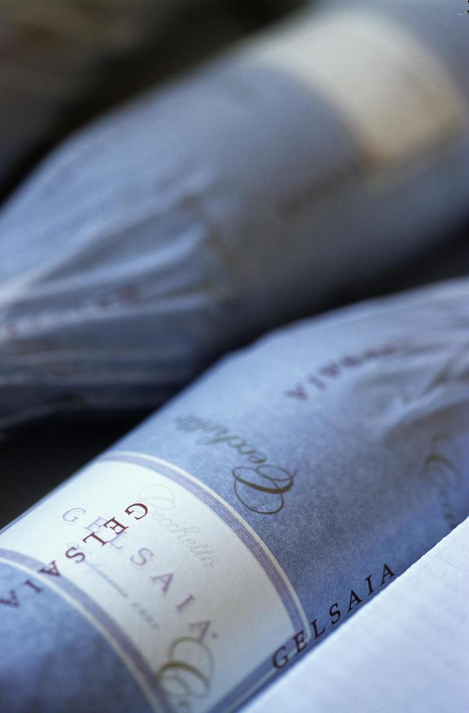 Stock Photo: 4292-53394 Bottles of Gelsaia Raboso wine,Italy, Veneto