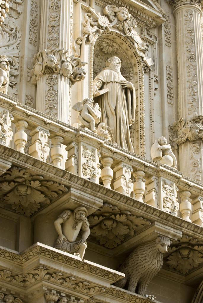Italy, Apulia, Lecce. Basilica di Santa Croce, facade detail : Stock Photo