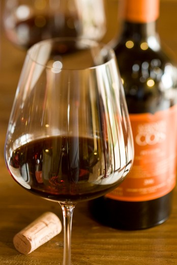 Glass of Phitos wine by Azienda Agricola Cos - Vittoria, Italy, Sicily : Stock Photo