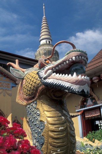 Stock Photo: 4292-58128 Asia, Malaysia, Penang island, dragon statue at Chayamangkalaman wat temple